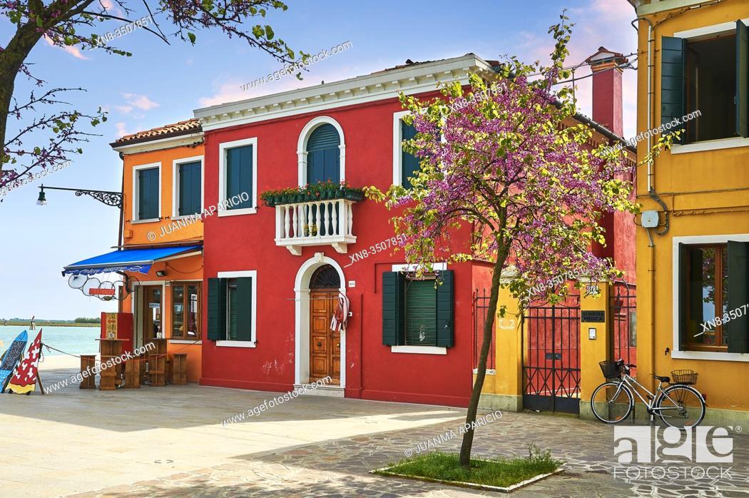 Stock Photo: Colorful house in Burano Island, Venice, Veneto, Italy, Europe.