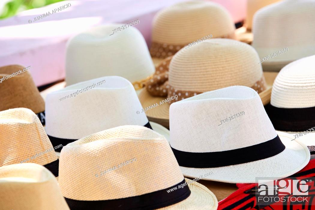 Stock Photo: Panama hats, Panama City, Republic of Panama, Central America.