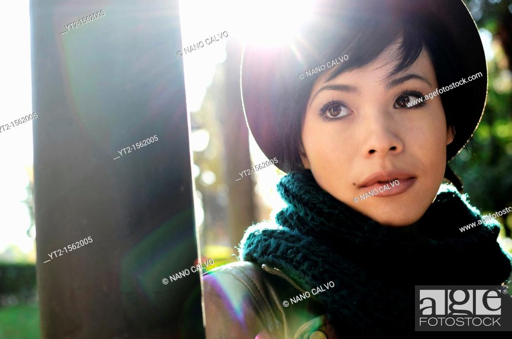 Stock Photo: Attractive french eurasian young woman.
