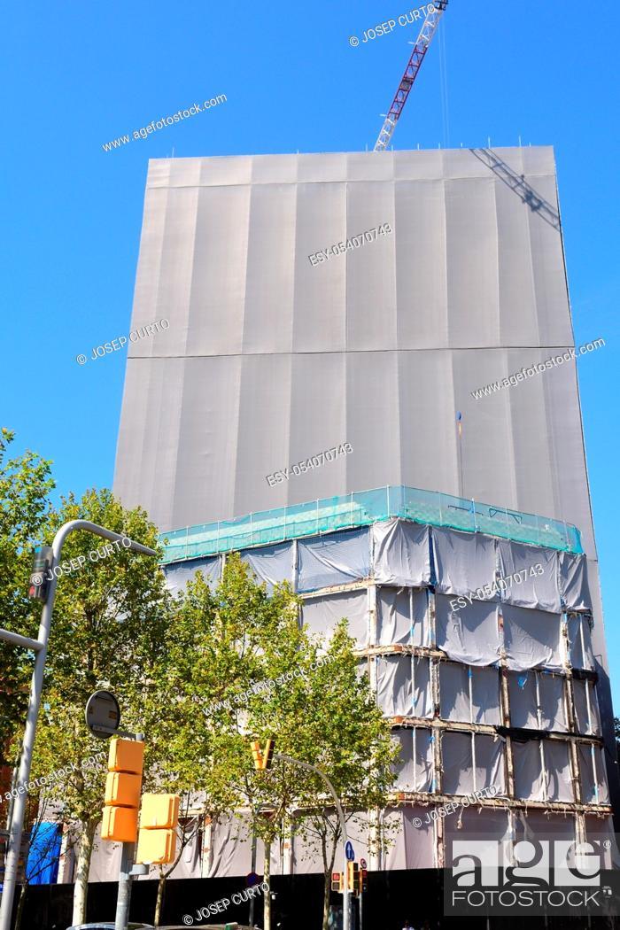 Photo de stock: covered building under construction, .
