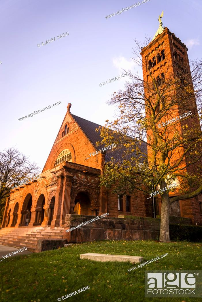 Photo de stock: First Congregational Church of Detroit, Woodward Avenue, Detroit, Michigan, USA.