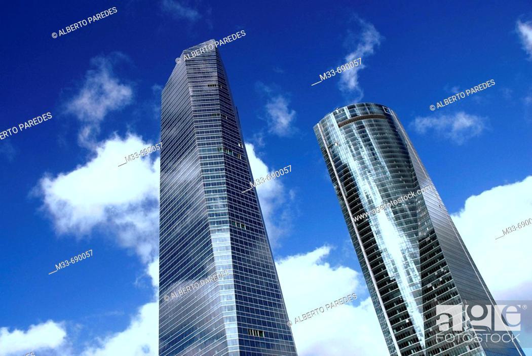 Stock Photo: Torre de Cristal on the left by architect Cesar Pelli and Torre Espacio.  New towers in CTBA, Cuatro Torres Business Area . Paseo de la Castellana.