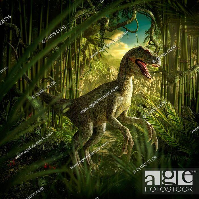 Stock Photo: Velociraptor dinosaur in lush green jungle.