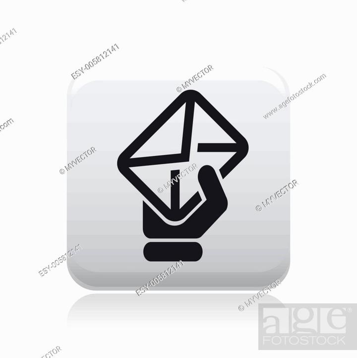 Stock Vector: Vector illustration of isolated mail hand icon.