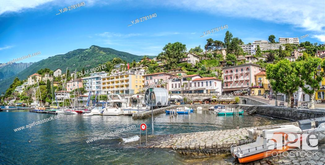 Stock Photo: Lakefront of Ascona, Ticino, Switzerland.