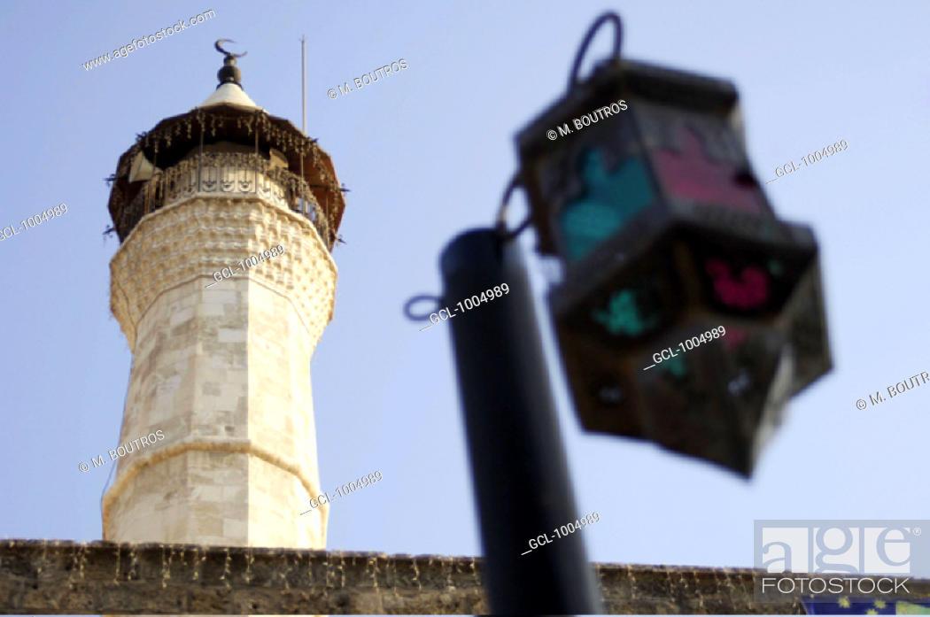 Stock Photo: Mosque minaret in Beirut down town, Lebanon.