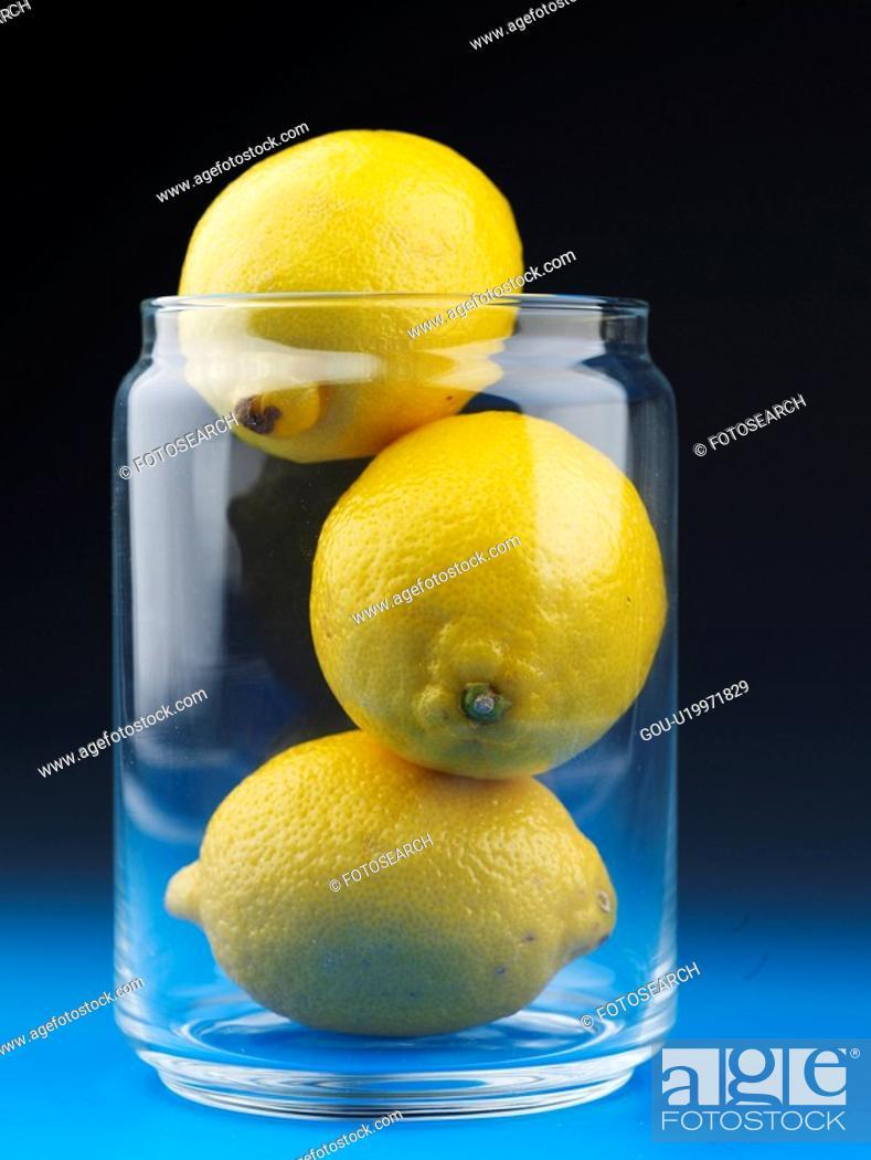 Stock Photo: plant, lemon, fruit, plants, glass jar.