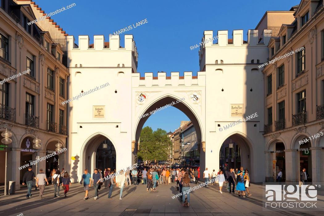 Stock Photo: Karlstor Gate, Karlsplatz Square, Stachus, Munich, Bavaria, Germany, Europe.