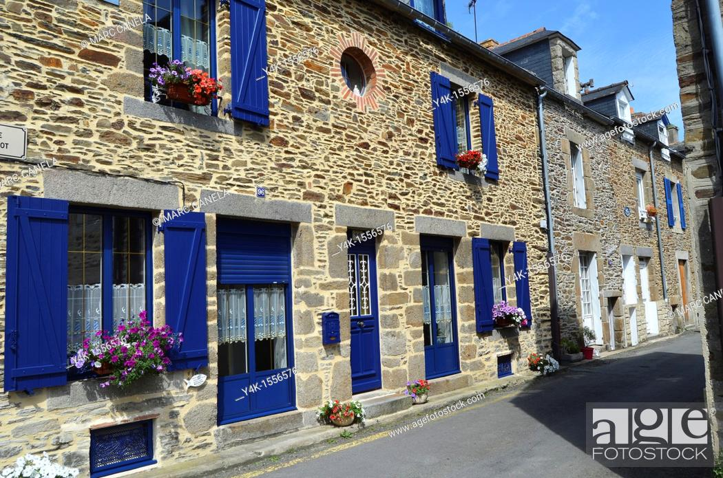 Stock Photo: Europe, France, Bretagne Brittany Region, Cancale Village, typical building and street.