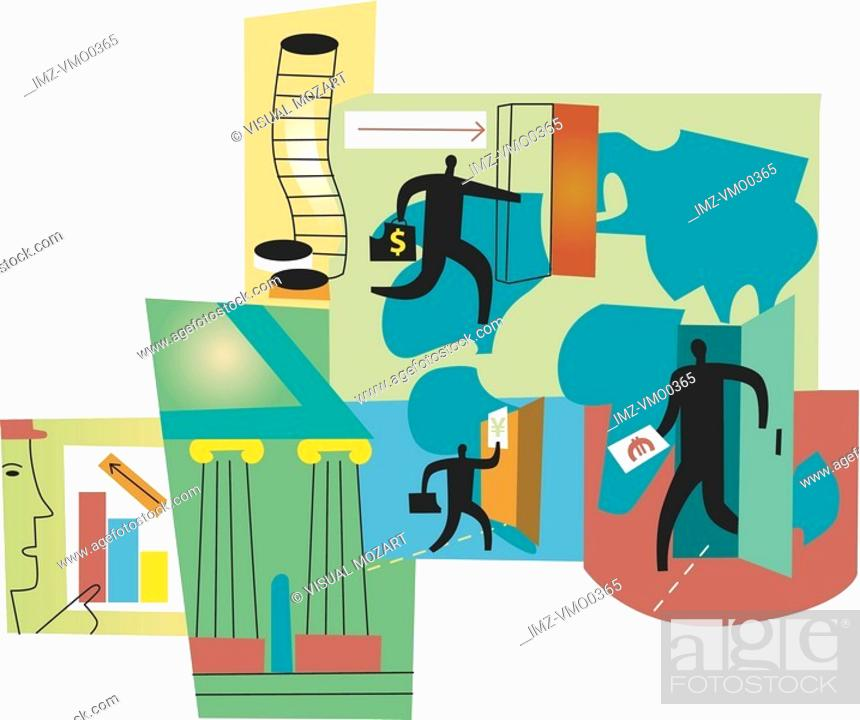 Stock Photo: International business opportunities montage.