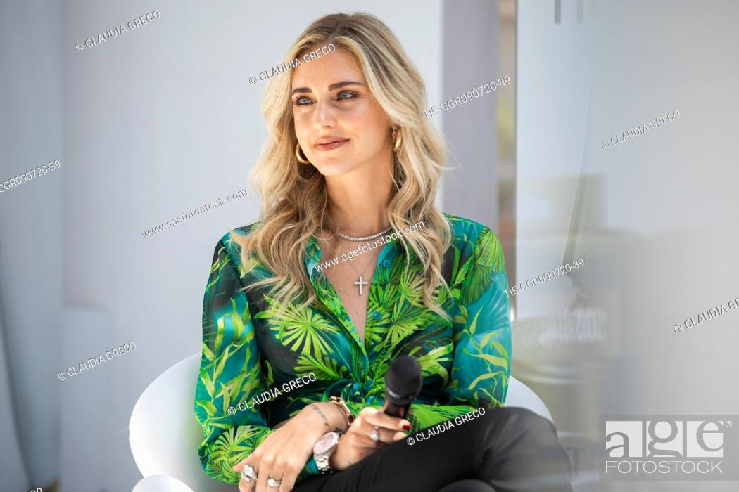 Stock Photo: Italian influencer Chiara Ferragni testimonial of the new spot Pantene Estate during the Pantene digital event in Milan, ITALY-09-07-2020.