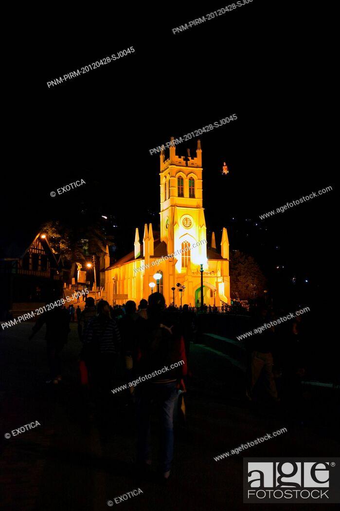 Stock Photo: Christ Church at night, Mall Road, Shimla, Himachal Pradesh, India.