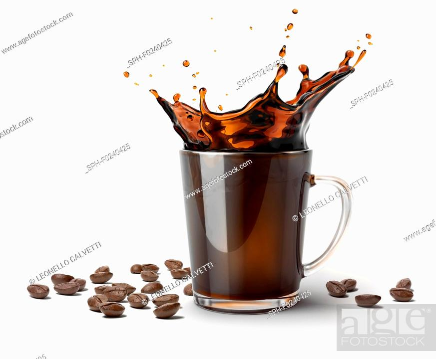Stock Photo: Glass mug with coffee splash. Some coffee beans on the surface besides it. On white background.