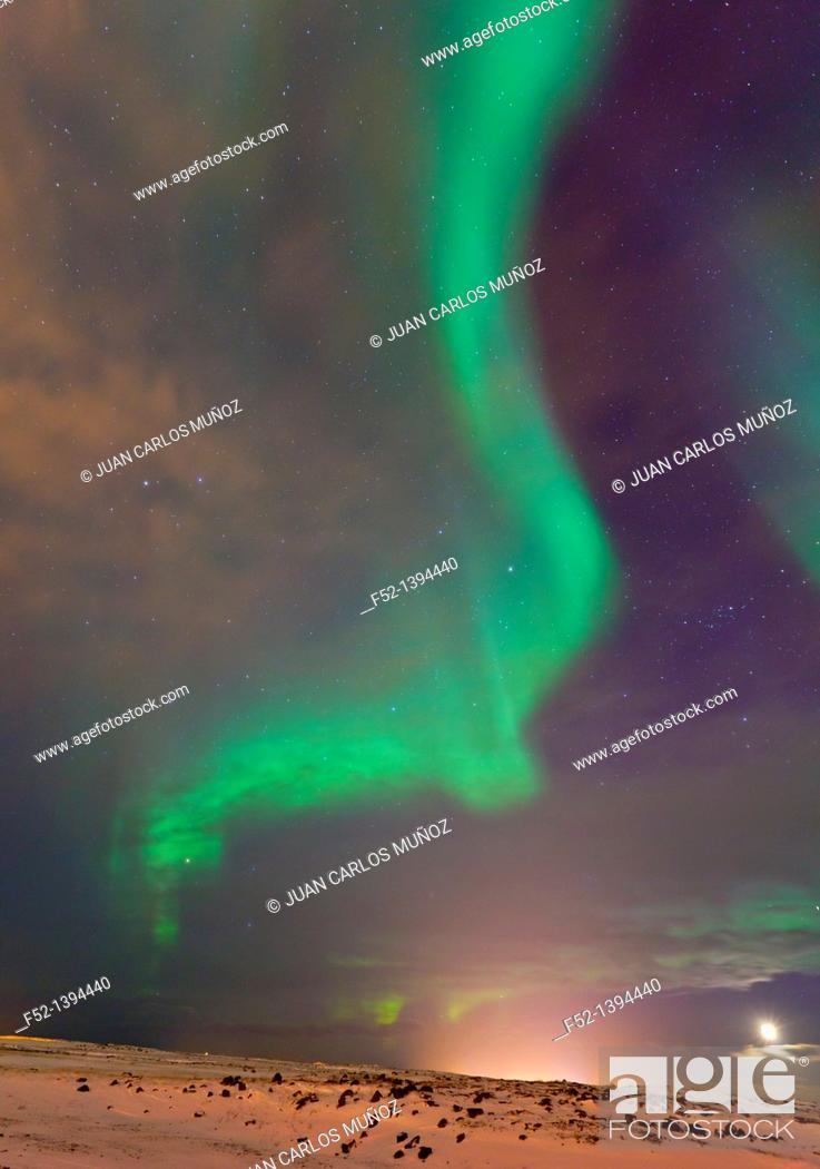 Stock Photo: Northern Lights, Southern Iceland, Iceland, Europe.