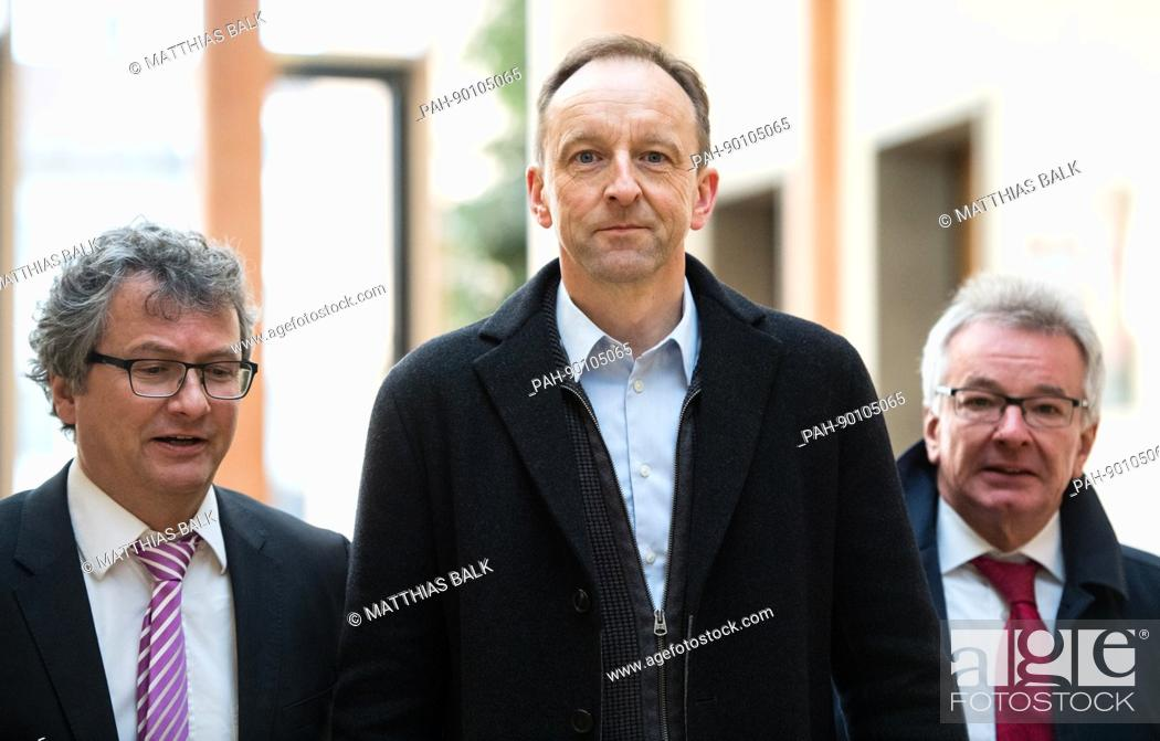 Stock Photo: Dietmar Schach (R), former managing director of the closed-down Sieber sausage factory arrives for his trial with his lawyers Martin Hintermayer and Andreas.