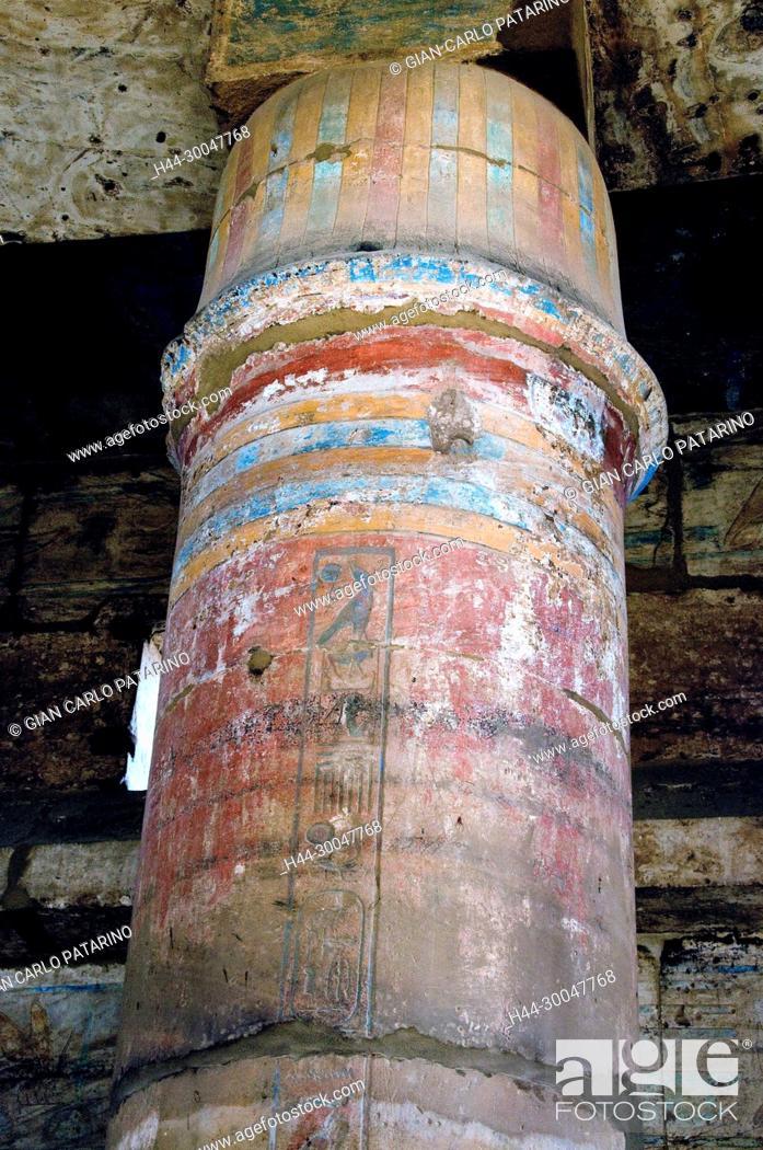 Stock Photo: Karnak, Luxor, Egypt. Temple of Karnak sacred to god Amon: a colorful column in the Hall of Festivals (Akh-Menu).