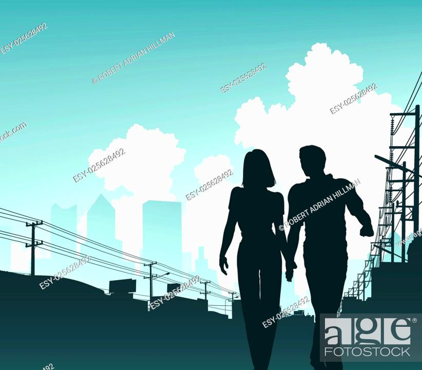 Stock Vector: Editable vector illustration of a couple walking along an urban street.