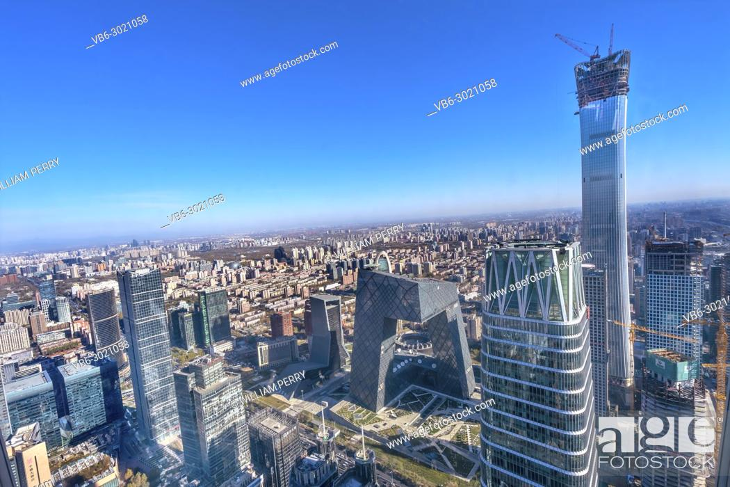 Stock Photo: China World Trade Center Z15 Towers Skyscrapers CCTV Pants Building Guamao Centrall Business District Beijing China.