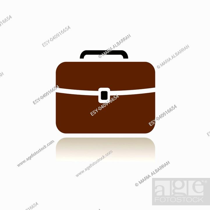 Vector: Briefcase icon with color and reflection on white background.