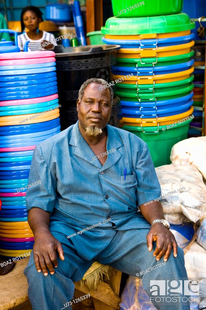 Stock Photo: Colorful market scenes in west Africa.