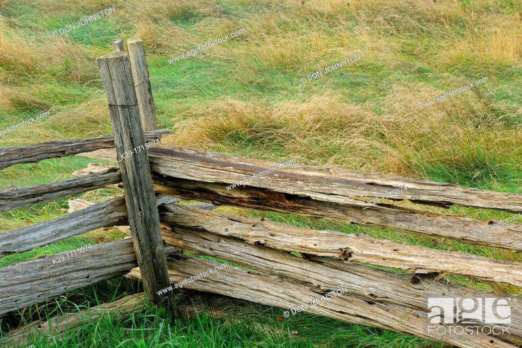 Stock Photo: Cedar split-rail fence, Manitoulin Island, Ontario, Canada.