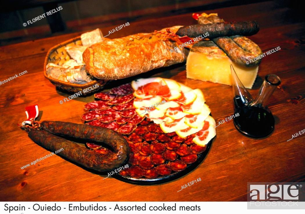 Stock Photo: Spain - Ouiedo - Embutidos - Assorted cooked meats Spain.