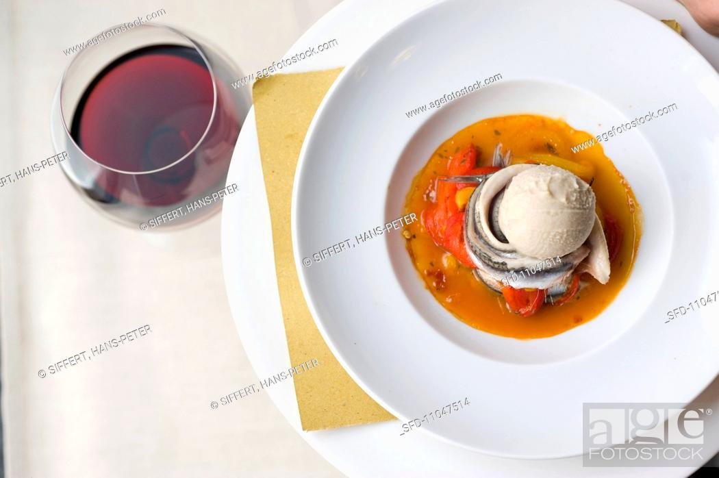 Gelato di bagna cauda con le sarde spicy ice cream with fish