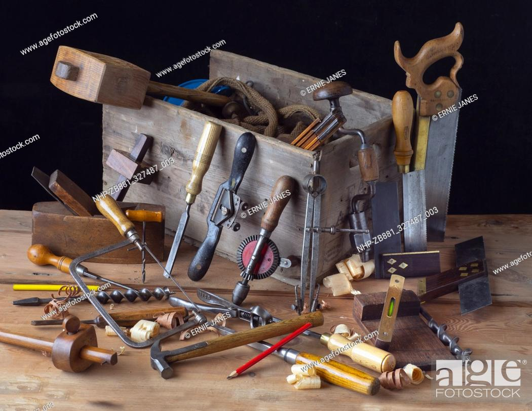 Carpenters Tools On Woodworking Bench Stock Photo Picture And Rights Managed Image Pic Nhp Zb881 327487 003 Agefotostock