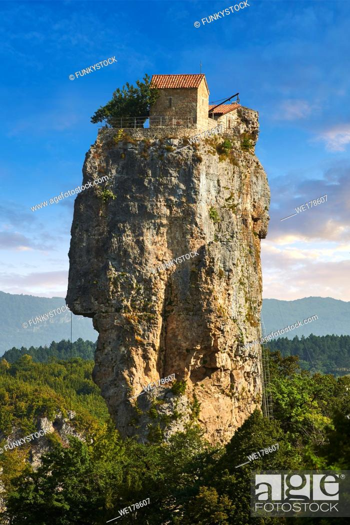 Stock Photo: Picture & image of Katskhi Pillar Georgian Orthodox church on a 40 m (130 ft) natural limestone rock pillar near Chiatura, Imereti Region, Georgia (country).