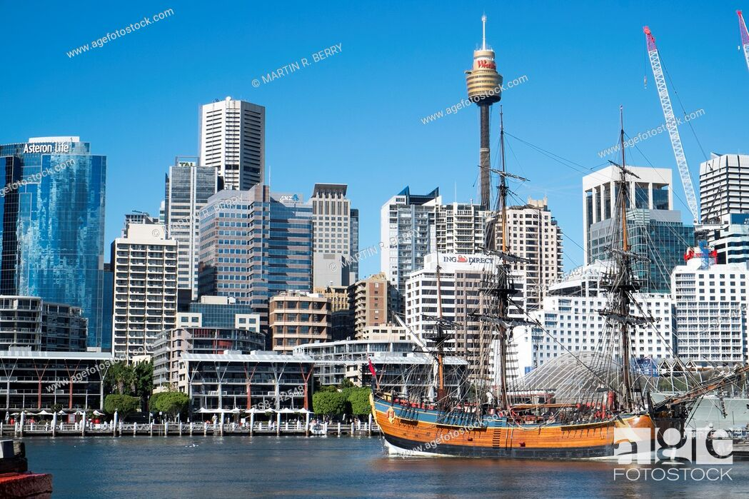 Stock Photo: Sydney Central Business District and HM Bark Endeavour replica Ship in Darling Harbour.