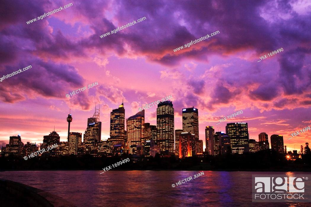 Stock Photo: Sydney Skyline from Botanical Gardens at dusk.