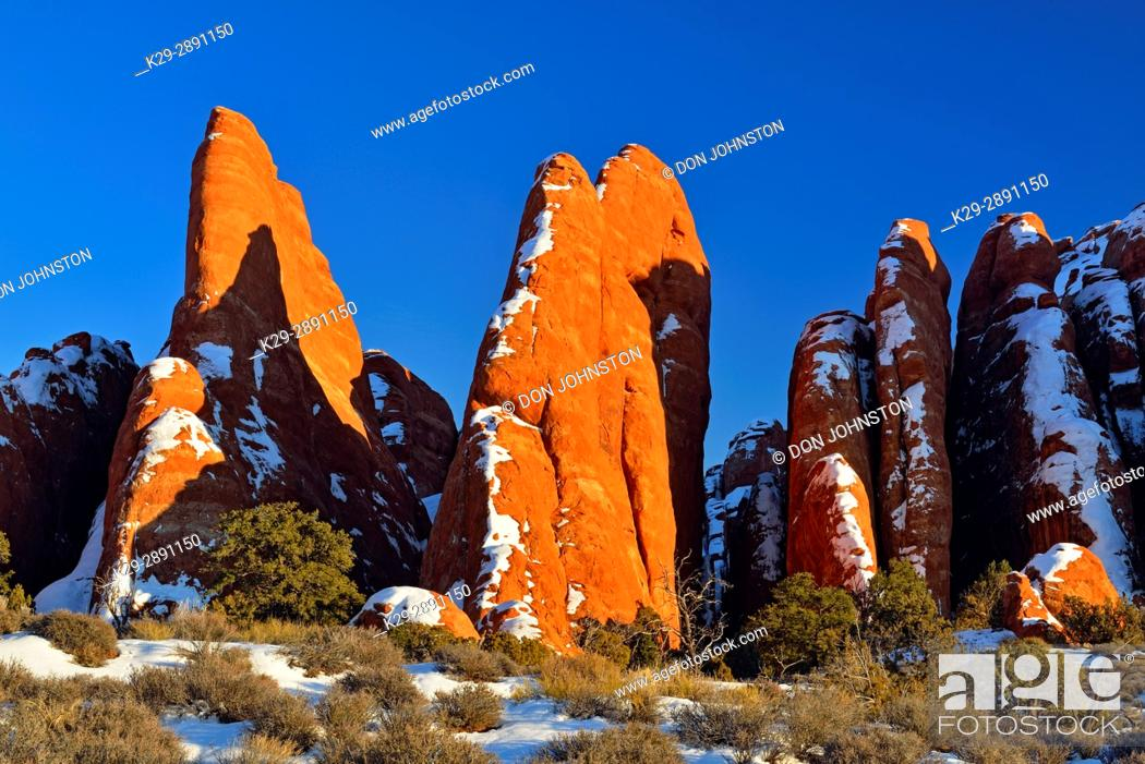 Stock Photo: Sandstone fins in winter near the Fiery Furnace, Arches National Park, Utah, USA.