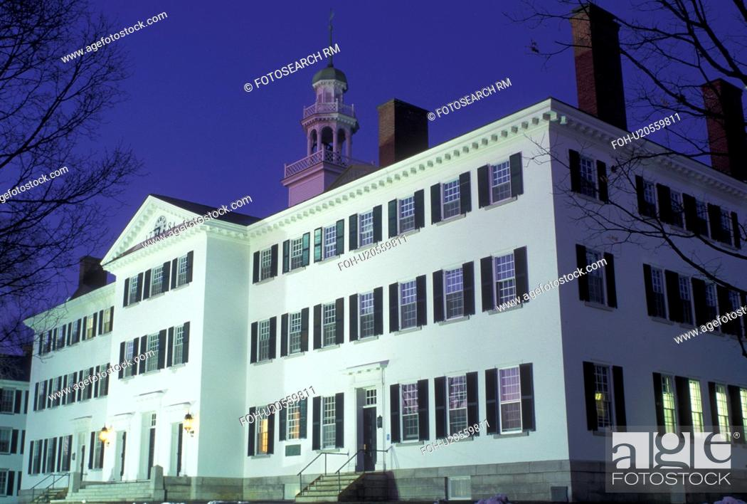 Stock Photo: university, New Hampshire, NH, Building on the campus of Dartmouth College in Hanover in the evening in winter.