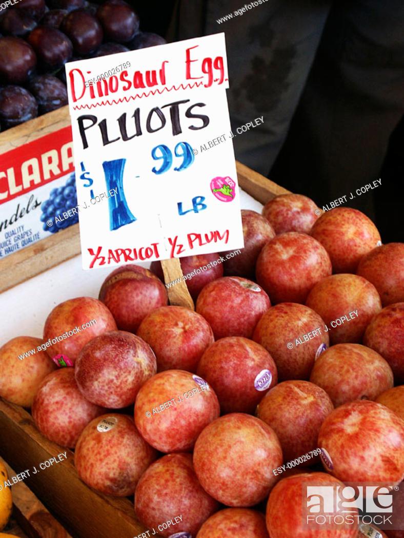 Stock Photo: Pluots at market.