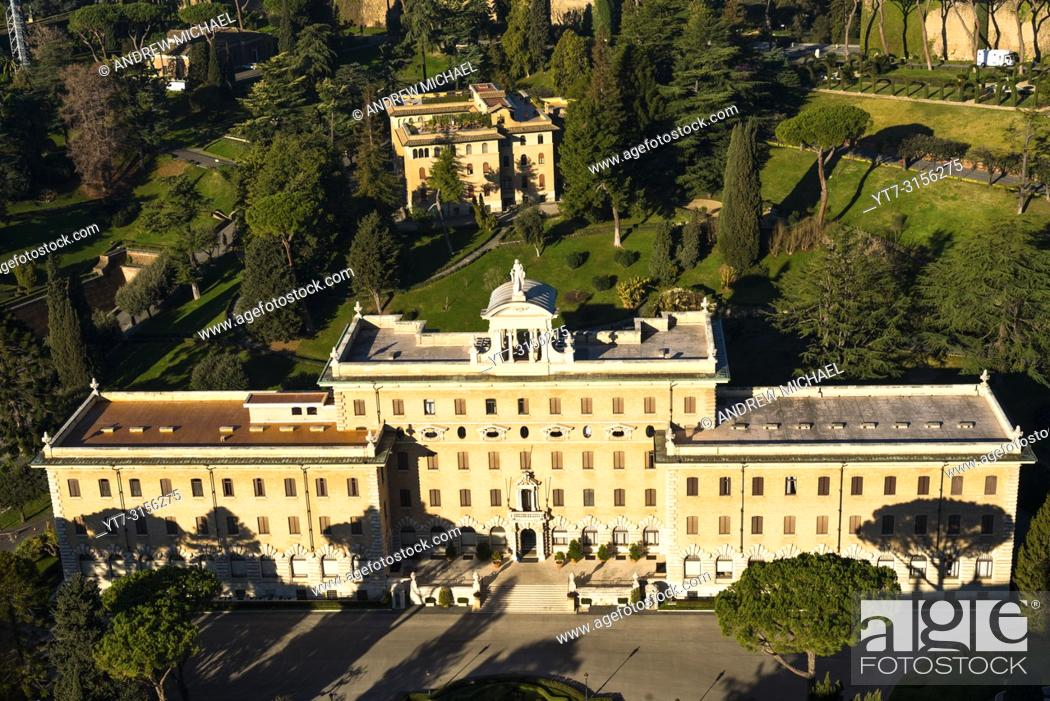Stock Photo: Aerial view of Palace of the Governorate palace, Vatican city, Rome, Italy.