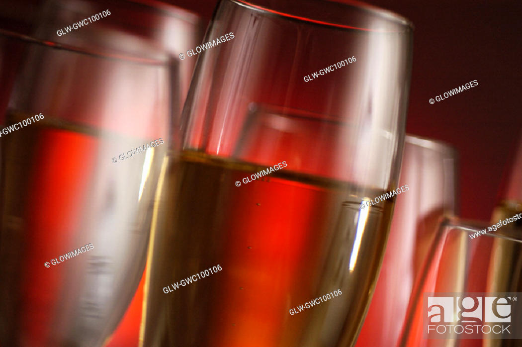Stock Photo: Close-up of champagne in champagne flutes.
