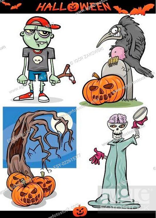 Stock Vector: Halloween Cartoon Spooky Themes Set.