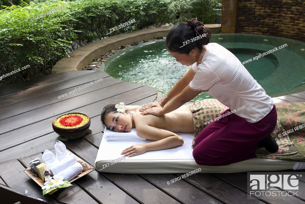 Stock Photo: Massage in a spa of hotel Pimalai Resort, Kantiang Beach, Ko Lanta or Koh Lanta island, Krabi, Thailand, Asia. Pimalai Resort & Spa is a luxury beach resort.