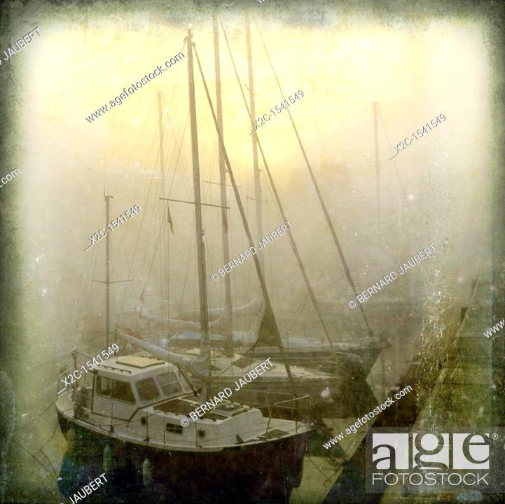 Stock Photo: Sailboat in the harbour, Honfleur, Normandy, France, Europe.