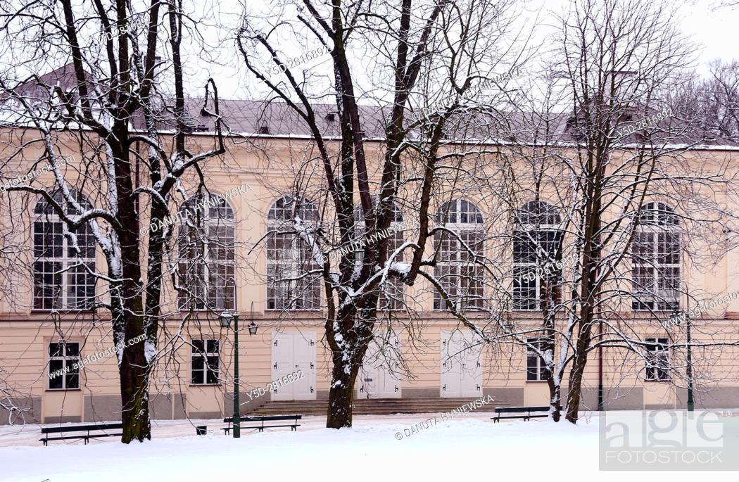 Stara Pomaranczarnia Building In Winter Facade Of Old