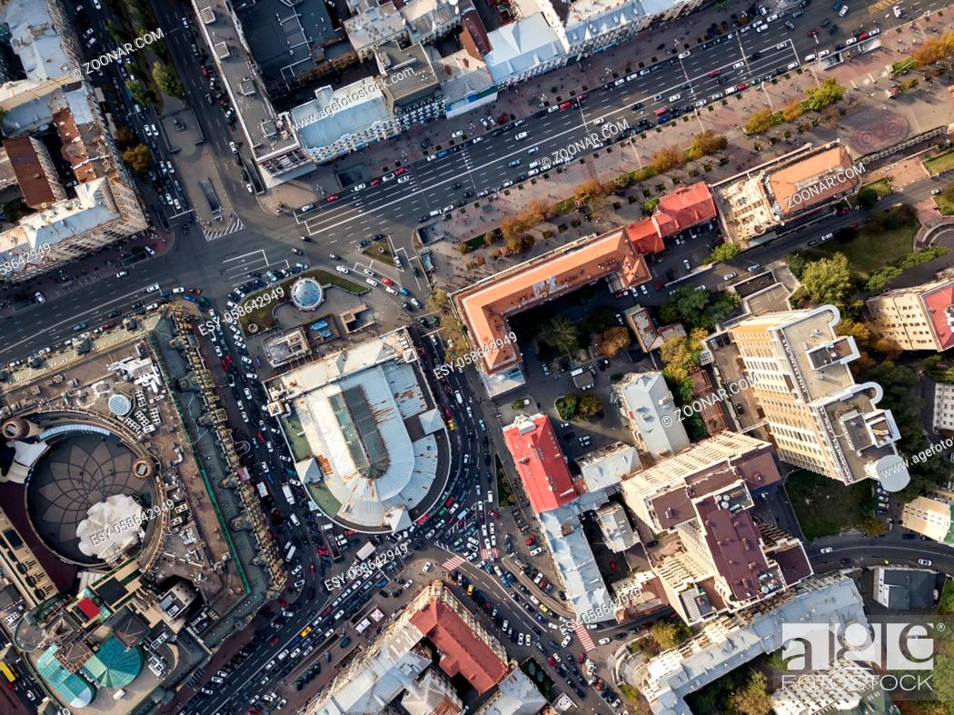 Stock Photo: Central part of Kyiv with Arena City, Bessarabsky Market and Khreshchatyk street. Top view panoramic photo. Horizontal.