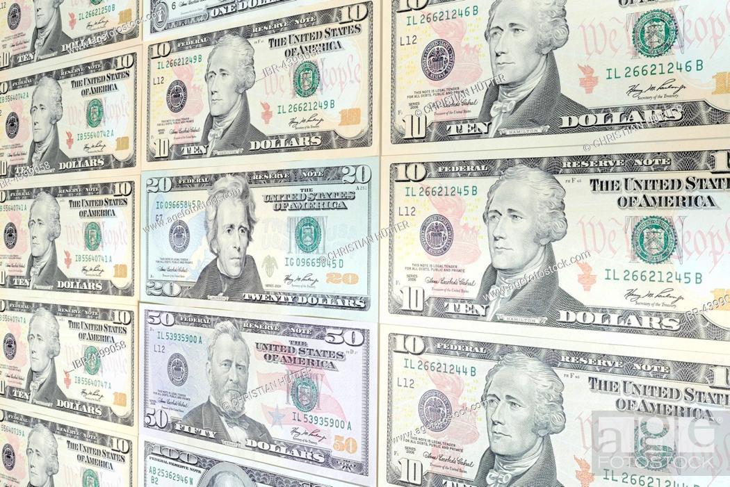 Various US dollar bills, 10, 20, 50 dollar bill, Stock Photo
