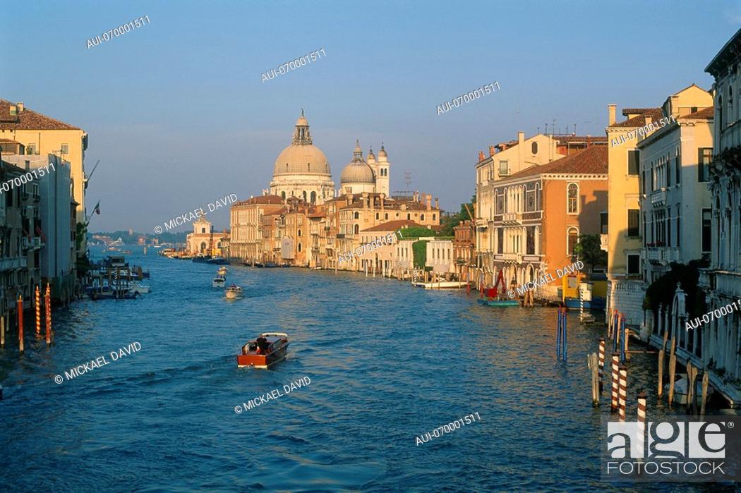Stock Photo: Italy - Venice - view of the Grand Canal - Santa Maria Della Salute.