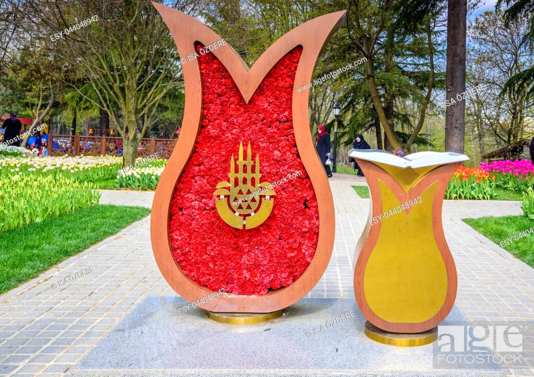 Stock Photo: Logo of Istanbul Municipality Annual Istanbul Tulip Festival in Emirgan Park, a historical urban park located in Sariyer district. Istanbul,Turkey.