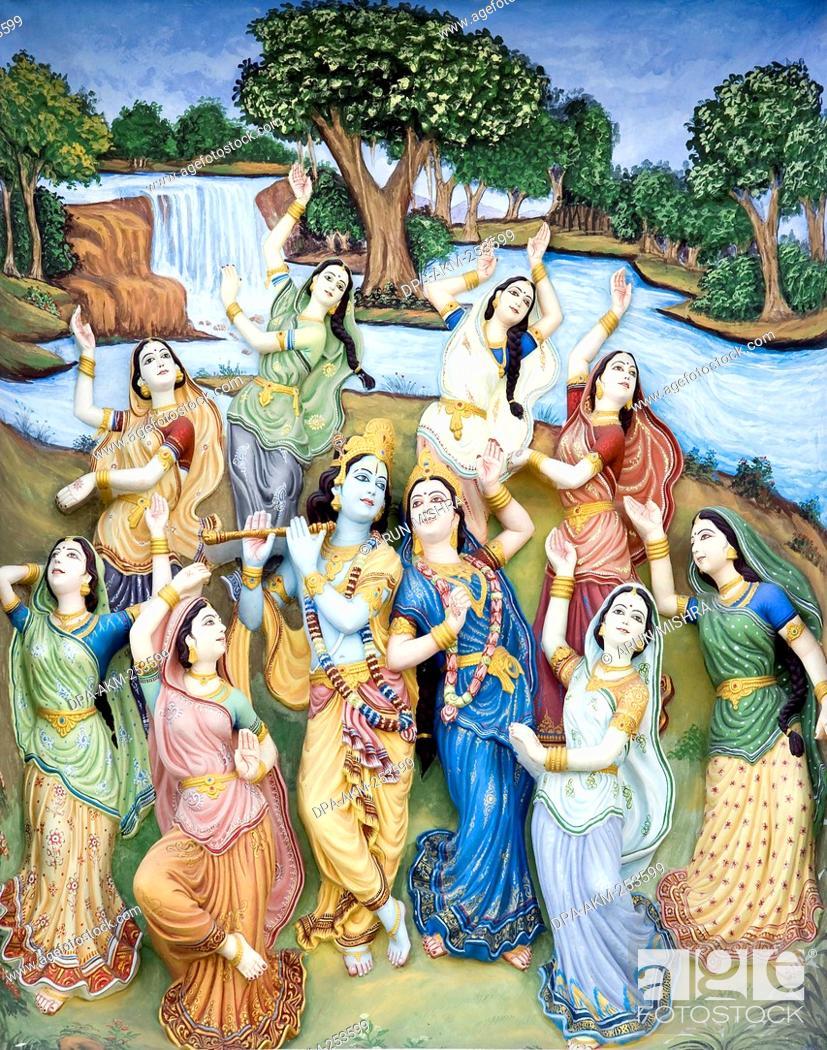 Radha Krishna Gopis Paintings On Wall Uttar Pradesh India Asia