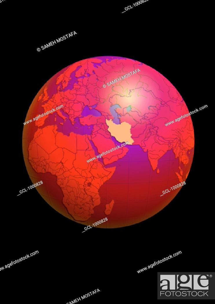 Stock Photo: Iran on Globe.