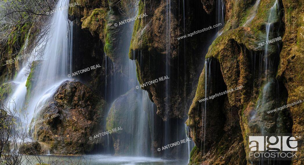 Stock Photo: Monumento Natural del Nacimiento del Río Cuervo. Parque Natural de la Serranía de Cuenca. Province of Cuenca. Spain.