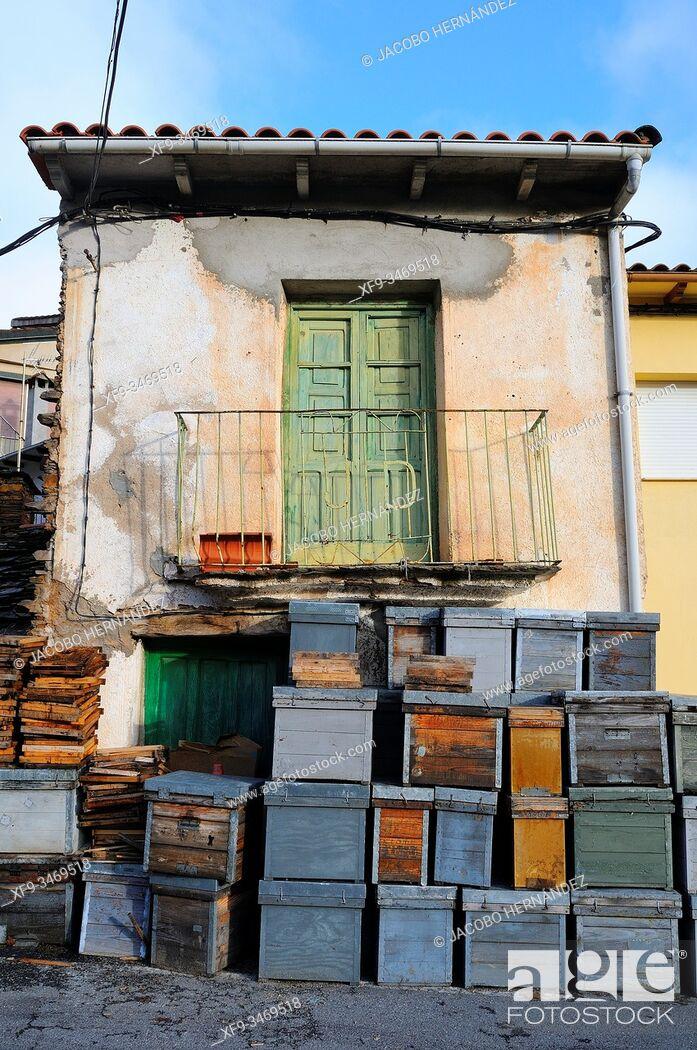 Stock Photo: Beehives. Las Mestas village. Las Hurdes. Cáceres province. Extremaura. Spain.