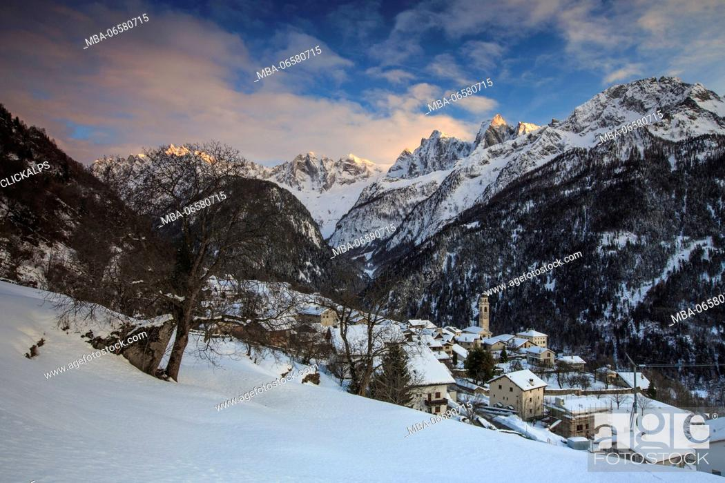 Stock Photo: Winter sunset in Soglio with view on Sciore, Pizzo Badile and Cengalo, Soglio, Val bregaglia, Canton of Graubunden, Switzerland,.