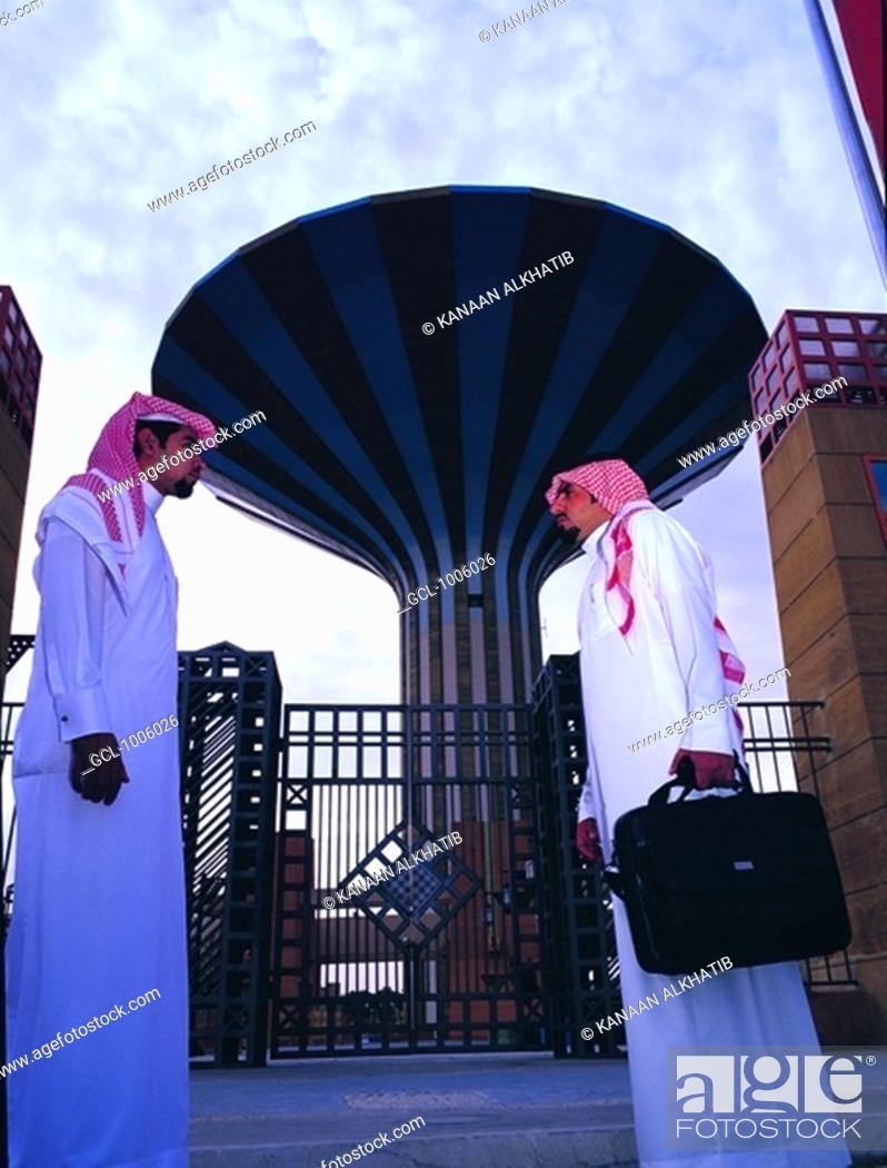 Stock Photo: Arab Businessmen meeting in Riyadh, Saudi Arabia.